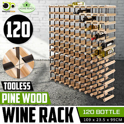 120 Bottle Timber Wine Rack Wooden Storage System Cellar Organiser Stand Display