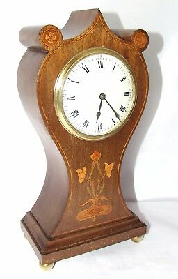 Antique EDWARDIAN Inlaid Mahogany Bracket Mantel Clock Timepiece WORKING ORDER