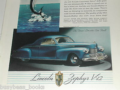 1942 Lincoln ad, Zephyr V-12, color, leaping sailfish