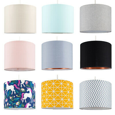 Modern Cotton Fabric Ceiling Pendant Light Shade Easy Fit Drum Lampshade Lights