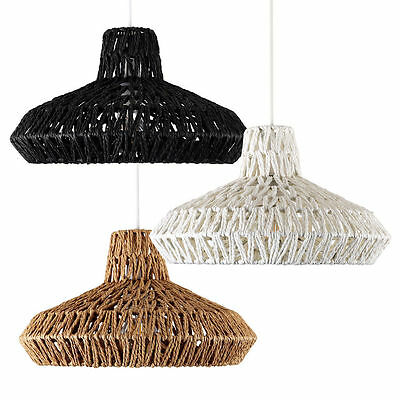 Rustic Woven Rope Ceiling Pendant Light Shade Lampshade Wicker Lounge Lighting