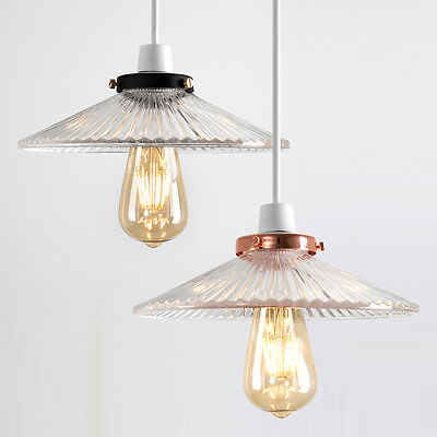 Industrial Retro Black / Copper Ceiling Pendant LED Light Shade Glass Lampshade