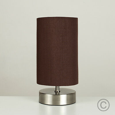 Modern brushed chrome touch table lamp brown shade lampshade lounge modern brushed chrome touch table lamp brown shade lampshade lounge dimmer light aloadofball Gallery