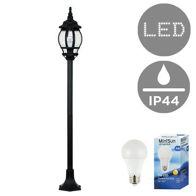 Vintage Style Outdoor LED Garden Street Lamp Post Lantern Lamppost + 6W GLS Bulb