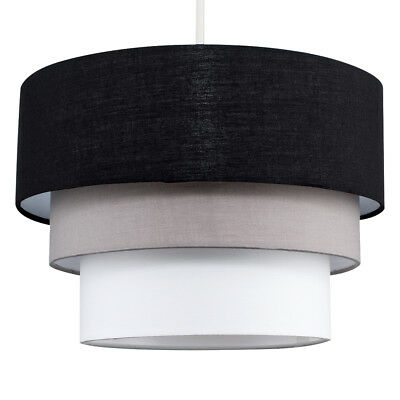 Modern Easy Fit Black + Grey 3 Tier Ceiling Pendant Light Shade Lampshade Home