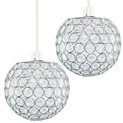 Pair of Modern Chrome Ceiling Light Pendant Lamp Shades Chandeliers Lampshades