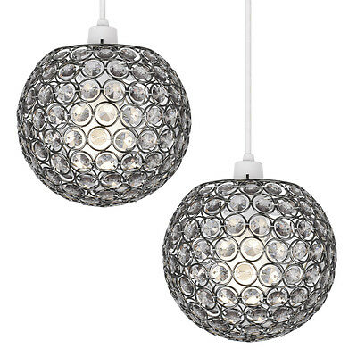 Pair of Modern Black Chrome Globe Ceiling Light Pendant Lamp Shades Chandeliers