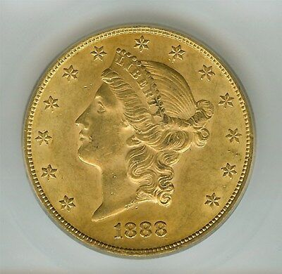 1888 Liberty $20 Gold - Double Die Reverse -  Icg Ms63 Rare Variety, Few Known
