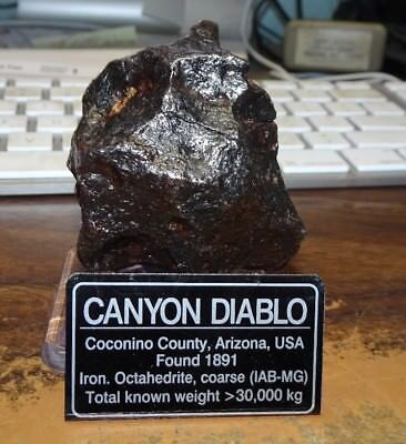 314 gm . CANYON DIABLO IRON METEORITE  ;MUSEUM GRADE WITH STAND AND LABEL