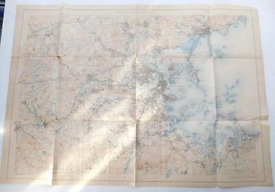 1890 Appalachian Mountain Club Boston Metro & Harbor Wall Map