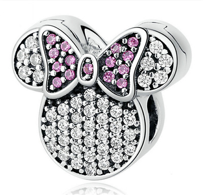 Hot Fashion Minnie European CZ Charm Crystal Spacer Beads Fit Necklace Bracelet