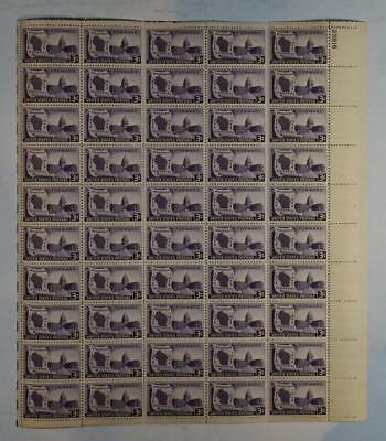 Us Scott 957 Pane Of 50 Wisconsin Stamps 3 Cent Face  Mnh