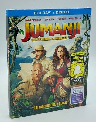 Jumanji: Welcome to the Jungle (Blu-ray+Digital, 2018) NEW with Slipcover