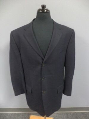 JOSEPH ABBOUD Solid Navy Blue Wool Lined Three Button Blazer Jacket 44L EE4809