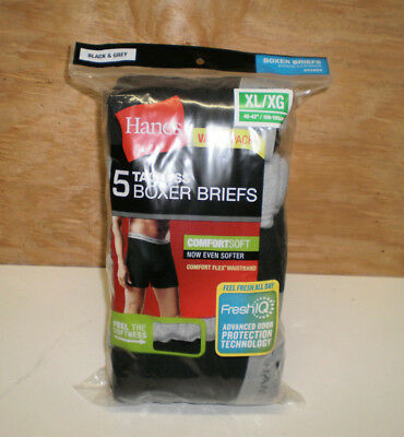 New Men's Hanes Value Pack 5 Boxer Briefs Black & Gray Size XL  ( 40 - 42 )