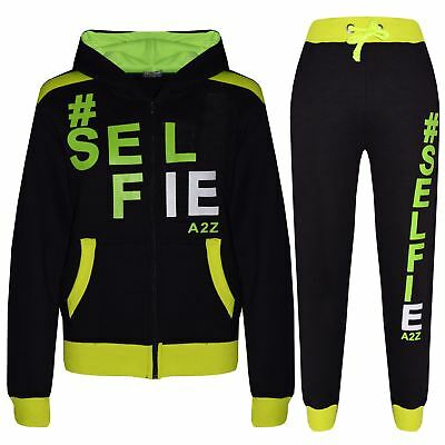 Kids Tracksuit Girls Boys Designer's #Selfie Jogging Suit Hooded Top Bottom 7-13