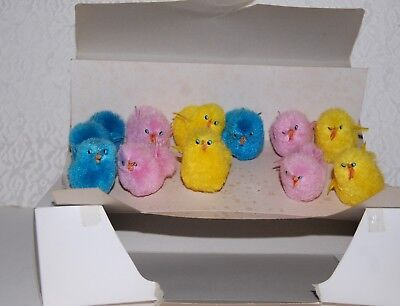 "Vintage Med 1.5"" Chenille Multi Colored Chicks Peeps Easter Decor Orig Box Of 11"