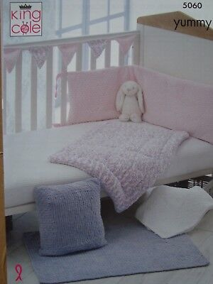 King Cole 5060 Baby's Cot Bumper,Blankets Yummy Chunky Knitting Pattern