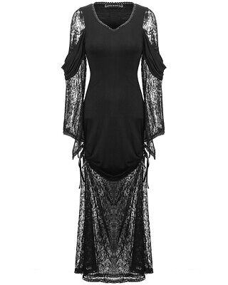 Dark In Love Gothic Maxi Dress Long Black Lace Vintage Steampunk Victorian Witch