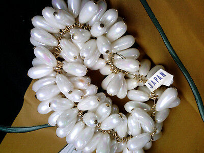 VTG 15 BAROQUE BEIGE FAUX PEARL DROPS RICH DRAMATIC JAPAN #072112p