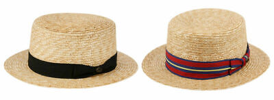 Classic Straw Fedora Boater Hat Porkpie Flat Brim w/ Black or Striped Band