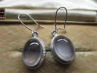 Solid Sterling Silver Cabochon Moonstone Earrings