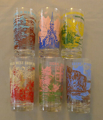 "Vintage Mid Century Lot of 5 "" Know Canada Better "" Colored Drinking Glasses"