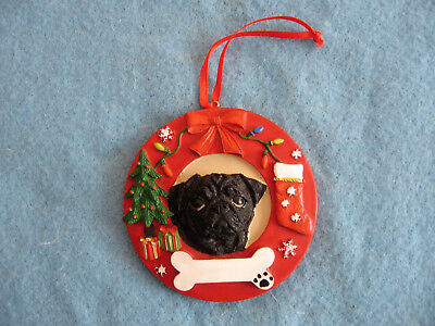 *NEW* Black Pug Christmas Tree Ornament Easily Personalized