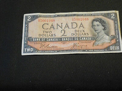 1954 Bank of Canada $2 Canadian Money - Devil's Face Very Good Cond. Thick Crisp