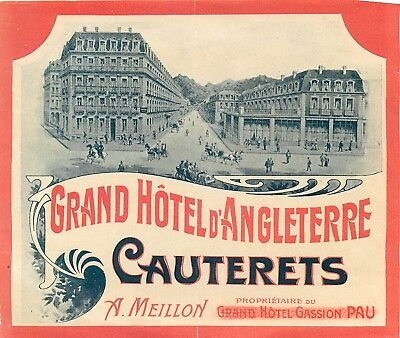 Cauterets France Grand Hotel D'angleterre Scarce Early 1900S Luggage Label