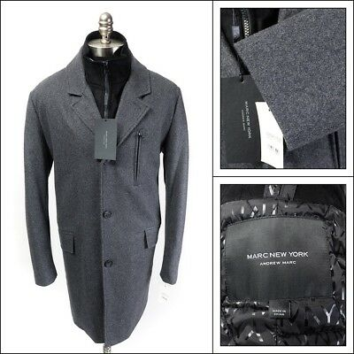 $250 NWT ANDREW MARC NY Truro Gray Wool Blend Button Up Overcoat Coat  XXL 2XL