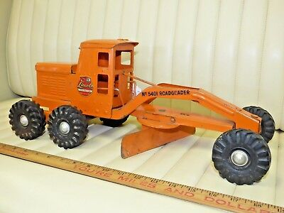 "1950s LINCOLN Road Grader 5401 Pressed Steel Toy 18-1/2"" CANADA"