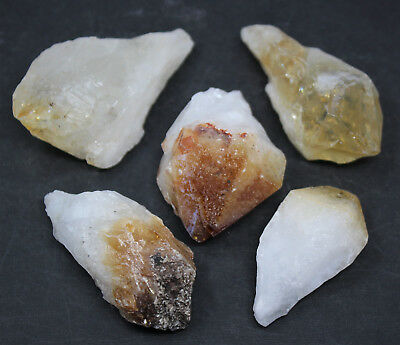 """Lot of 5 LARGE Citrine Point Crystals Large 1"""" to 2"""" Gemstones US Seller"""