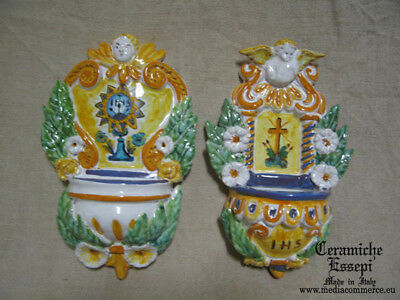 2 x Acquasantiera in ceramica fiori e angelo  - pottery holy water + OMAGGI