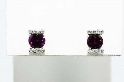 $500 1.36Ct Natural Tourmaline & Diamond Cluster Stud Earrings .925 Silver