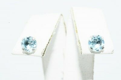 1.00Ct Natural Round Cut Light Blue Aquamarine Stud Earrings 10K White Gold
