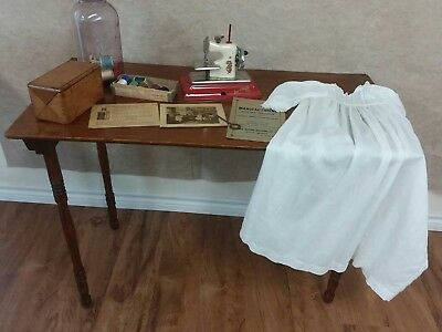 Antique 1880s Seamstress Sewing Folding Table w. Stenciled Measuring Ruler