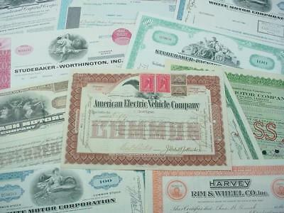 NobleSpirit NO RESERVE {3970}Vintage Automobile Stock Certificate Collection