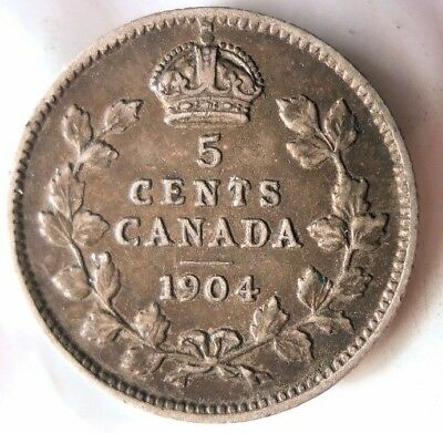1904 CANADA 5 CENTS - AU - Great Details - Scarce Silver Coin - Lot #M22