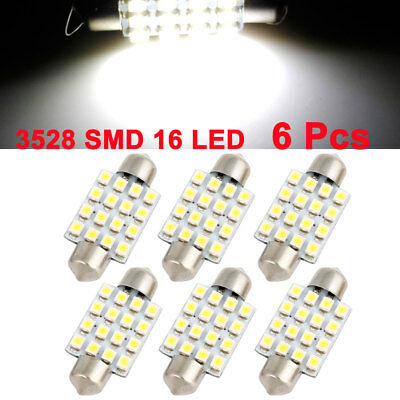 6pcs 39mm White 16 SMD LED Festoon Dome Map Lights Internal Lamp for Auto Car