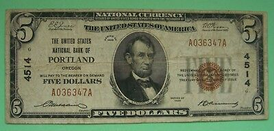 1929 $5. T1 THE UNITED STATES NATIONAL BANK OF PORTLAND OREGON OR Ch. # 4514