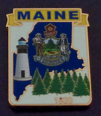 Maine State Shape Map Lapel Pin ME 1820 Lighthouse Evergreen Trees