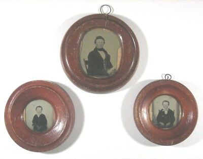 Trio of Wood Painted Folk Art Ambrotype  in Frames -Father &Sons-Unusual, 1860's