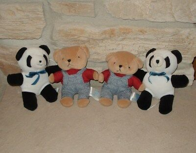 Set of 4 Crib Mobile Plush Replacement Bears: Panda Bears & Teddy Bears