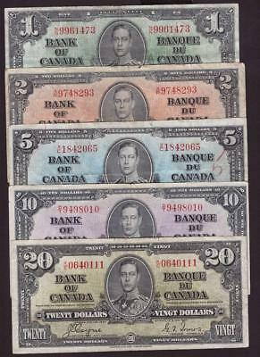 1937 Bank of Canada $1 $2 $5 $10 and $20 bank notes five notes Fine or better