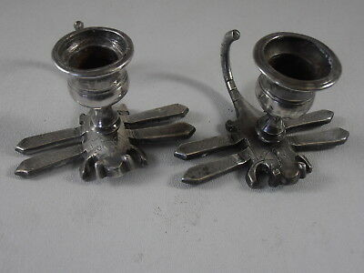 Dragonfly Candlestick Candle Holder Pair Silver Plated Metal Insect Flying Bug