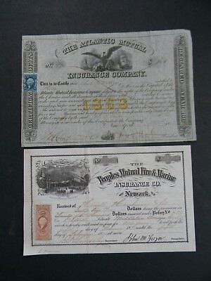 Stock Certificates - The Atlantic Mutual & The Peoples Mutual Fire & Marine 1868