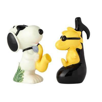 Peanuts Snoopy as Joe Cool and Woodstock Ceramic Salt and Pepper Shaker Set NEW