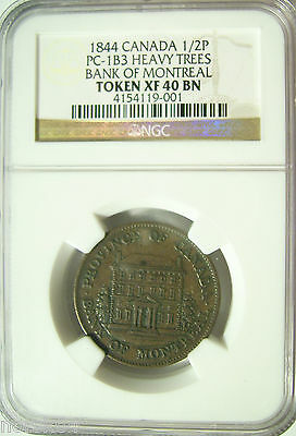 1844 Canada 1/2P Token PC-1B3 Heavy Trees - Bank of Montreal  NGC XF40 BN  #001