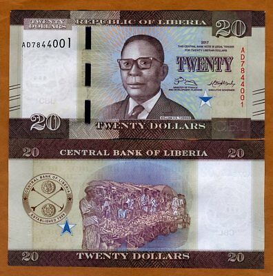 Liberia, 20 dollars 2017 (2018), P-New, UNC > Redesigned, New Date